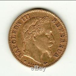 10 Francs Gold / Gold Type Napoleon III 1868 Bb Laureate Head Grasp Small Price