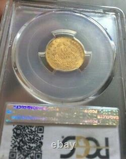 10 Francs Or Gold Napoleon III Naked Head 1859 A Paris Pcgs Ms63 R Spl63