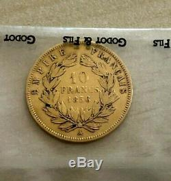 10 Francs Or Napoleon III Head Naked 1856 A Gold French Spot