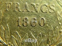 20 Francs Gold / Gold Napoleon III Bare Head From 1860 To 1850 In Paris Beautiful State! Rare