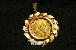 20 Francs Gold Napoleon III Bare Head 1859 And Its Gold Mount