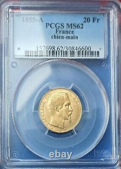 20 Francs Or Nap III Head Naked, 1855 A Dog, Sup/spl Rare Expert Pcgs Ms62