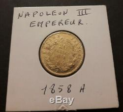 20f Piece 20 Francs Or Napoleon III Authentic Head Non Laurée A 1858 # 01