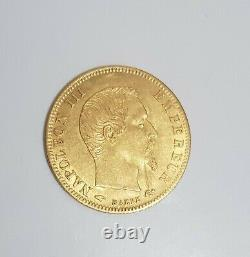 5-franc Coin In Gold Napoleon III Naked Head 1859 A