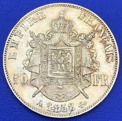 50 Francs Or Napoleon III Naked Head 1858 A Paris, Gold Mint, Gold Coin