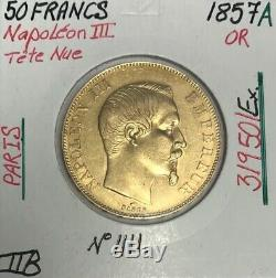 50 Francs Or Napoleon III Tete Nue (1857a) Coin Or // Ttb