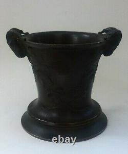 Bronze Pot With Handle Shaped Ram Head 19th