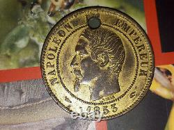 Currency 10 Cents Napoleon III Naked Head 1853 Golden And Pierced