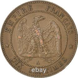 Currency, Second Empire, 10 Centimes Napoleon III Laureate Head 1865 A #82425