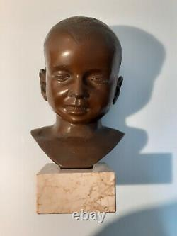 Francebronze Head Of A Child Base Marble Brown Patina H. 28.2 Ca 1880