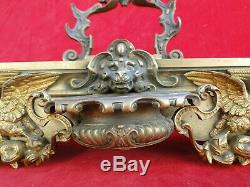 Inkwell Bronze Decor Lion Head And Swans Nineteenth