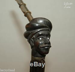 Magnificent 19th German Pipe Three Sculptured Heads