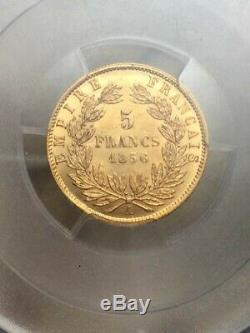 Napoleon III Head Naked Rare 5 Francs Gold Gold 1856 A Pcgs Ms62 Spl