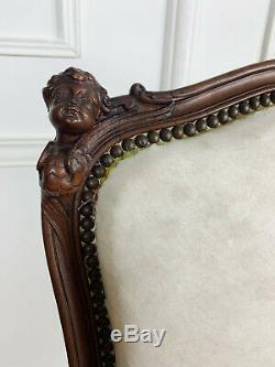 On Pair Of Napoleon III Chairs Carved In Head On Cherubs XIX