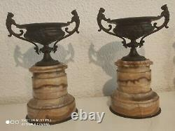 Pair Of Bronze Cassolettes And Marble Napoleon III Lion Heads