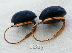 Pair Of Earring From Mourning Sleeper Gold Eagle Head On Solid 18k & Jais