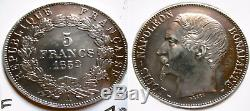 Silver Coin, Late Collection 5 Francs Napoleon III In 1852 A Large Head Felt Sup