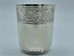 Superb Timbale St Napoleon III Decor Griffons - Lion Tete Silver Massif 1895